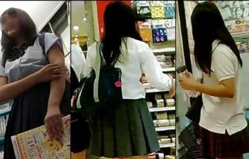 【高画質】制服白パン逆さ撮りNo30